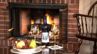 Wine and Fruit at Fireplace
