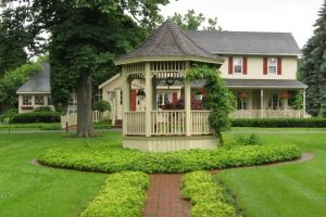 The front lawn and gazebo at Asa Ransom House