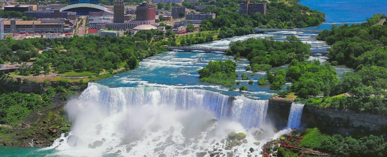 Aerial view of towns near Niagara Falls