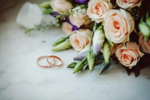 Wedding rings and flowers at Asa Ransom House